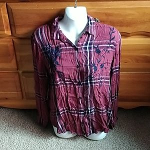 Charlotte Russe red plaid button up blouse